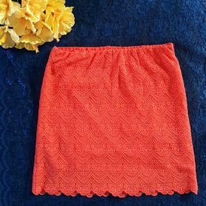 J. CREW Orange Lace Miniskirt